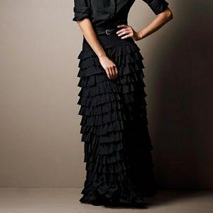 Black Silk Ruffled Maxi Skirt, Sz 12, NEW!